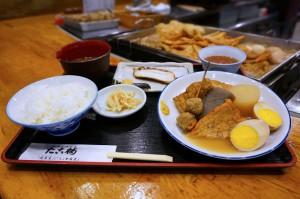 FM802に登場した たこ梅 東店の「たこ梅 定食」です