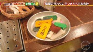 召し上がった関東煮・おでんは木札で勘定