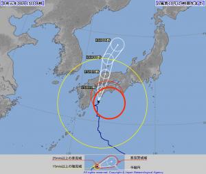 台風10号のの進路予想図(8月15日 午前6:00)